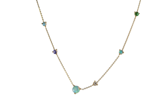 Linear Chain Necklace-14K W/4Mm & 2Mm Stones (Opal/White Diamond/Emerald/Tanzanite)