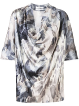 Painterly Cowl Neck Blouse
