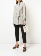 Houndstooth plaid blouse w/ neck tie