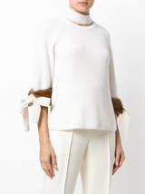 Cashmere sweater with mink cuffs