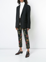 Stretch floral satin jacquard cropped skinny trouser