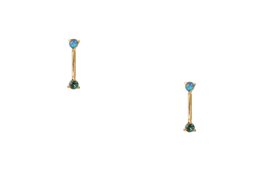 Two-Step Bar Earrings-14K W/2Mm Opal & Emerald (Pair)