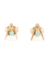Small Opal 14K Gold Triangle Earrings