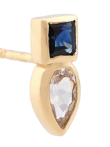 Square/Pear Studs W/ Blue And White Sapp In 14K Yg Earring