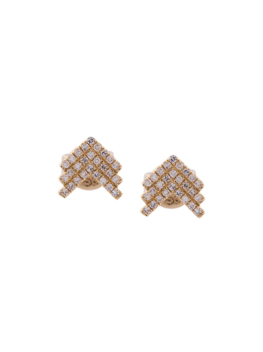 Diamond Shield Stud Earrings