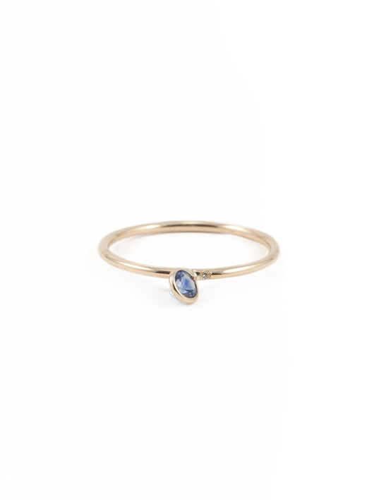 angled solitaire 3.5 mm sapphire ring