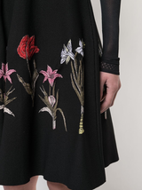 L/s floral embroidered a-line dress