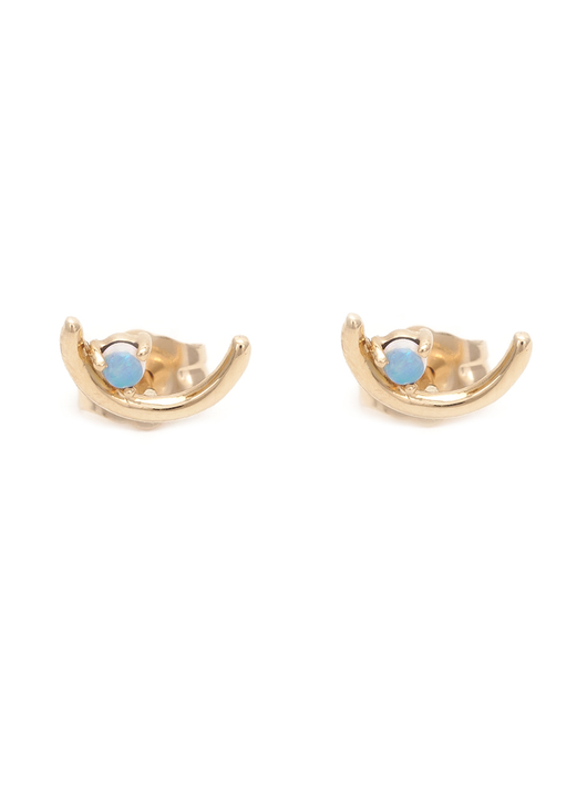 Offset Opal Arc 14K Gold Earrings