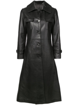 Slim leather trench