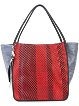 Mixed woven extra large tote