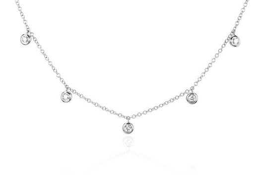 14k 5 diamond bezel choker