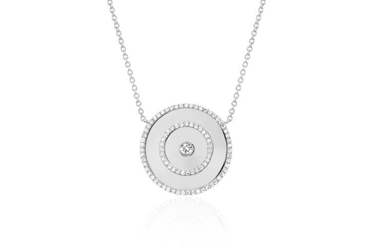 14k bullseye diamond necklace