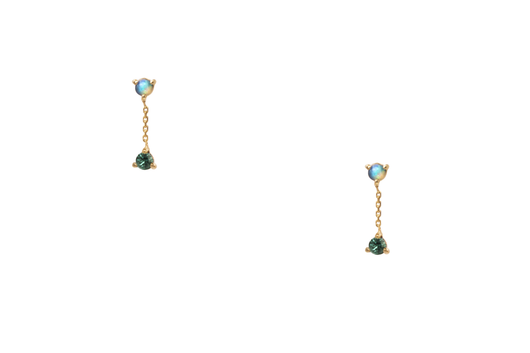 Small Two-Step Chain Earrings-14K 2/2Mm Opal & Emerald (Pair)