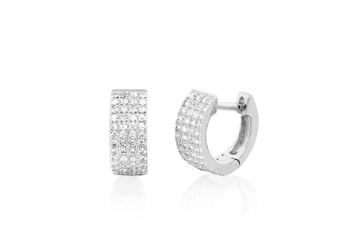 14k diamond jumbo mini huggie earrings