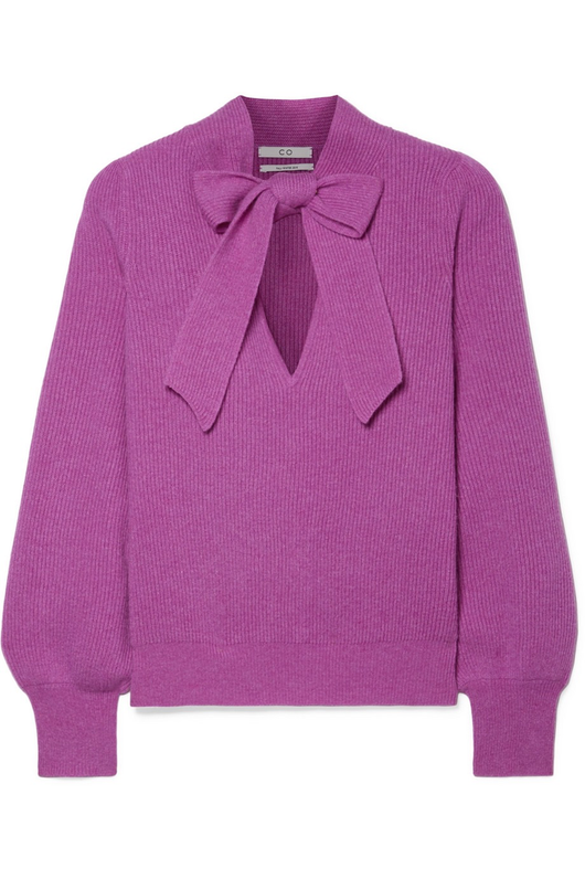 Tie neck cashmere sweater