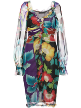 draped georgette japanese floral print dress