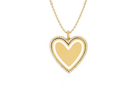 14k diamond & white enamel heart necklace