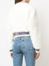 Faux fur cropped reversible bomber