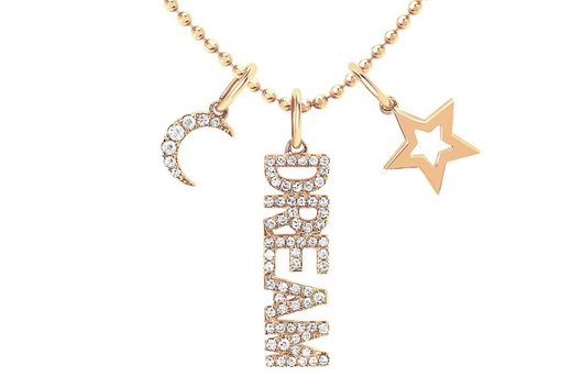 14k diamond dream charm necklace