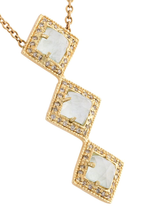 Triple Square Aquamarine Vertical Necklace