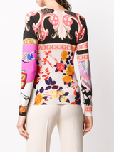 Floral Patchwork Brushed Silk Knit Sweater