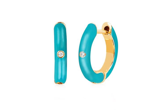 14k single diamond enamel huggie earring