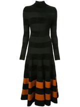 Mock neck l/s stripe dress
