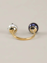 ladybug and peacock pearl double ring