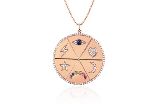 14k diamond all the feels pendant necklace