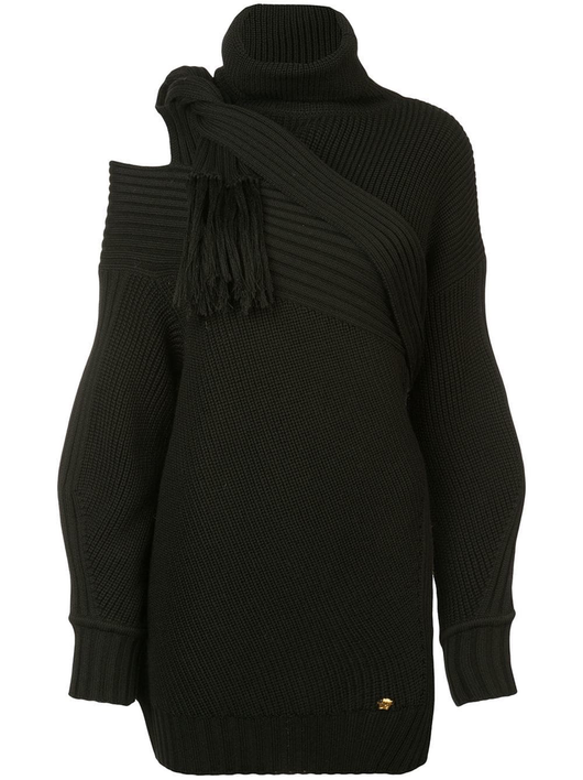 Scarf t-neck sweater w/scarf