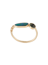 3 Diamond, Opal, Tourmaline Ring
