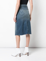 Straight step midi fray skirt