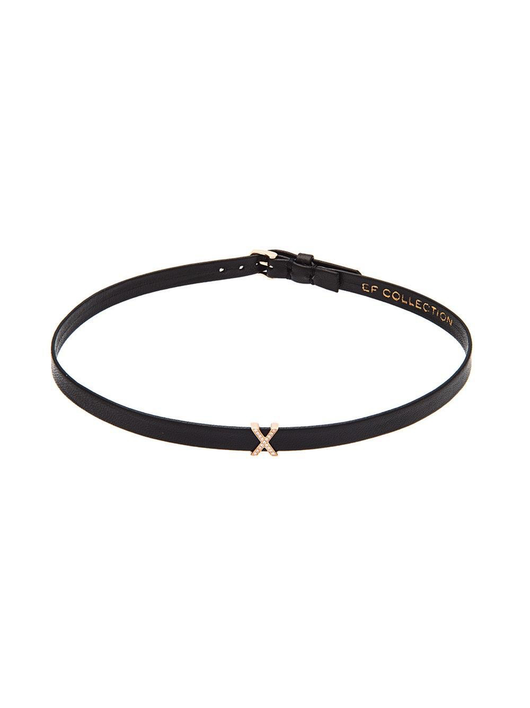 Diamond x leather choker