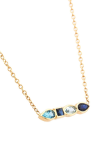 Pear Short Necklace Green-Blue Topaz, Blue Sapphire, Aqua Marine