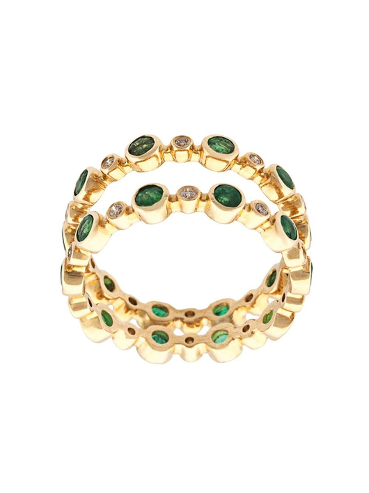 Double Dot Ring-Emeralds, Diamonds