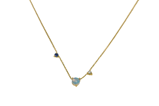 Three-Step Necklace-14K W/Opal, Sapphire And Shite Diamond 16