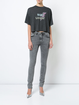 Skinny 5 Pocket Medium Waist Denim in Black Snow Wash
