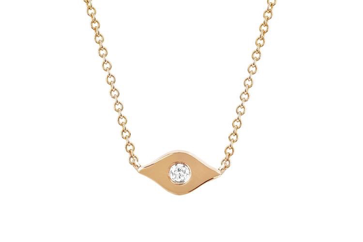 14k gold and diamond evil eye choker