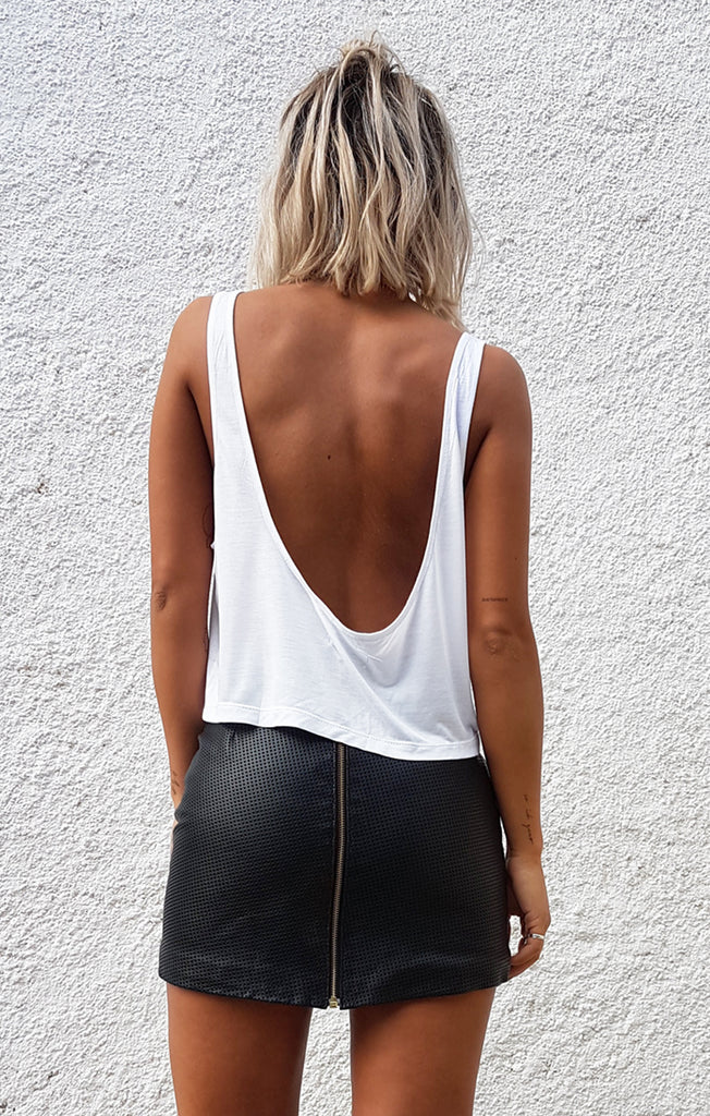 THE LOW BACK CROP - WHITE