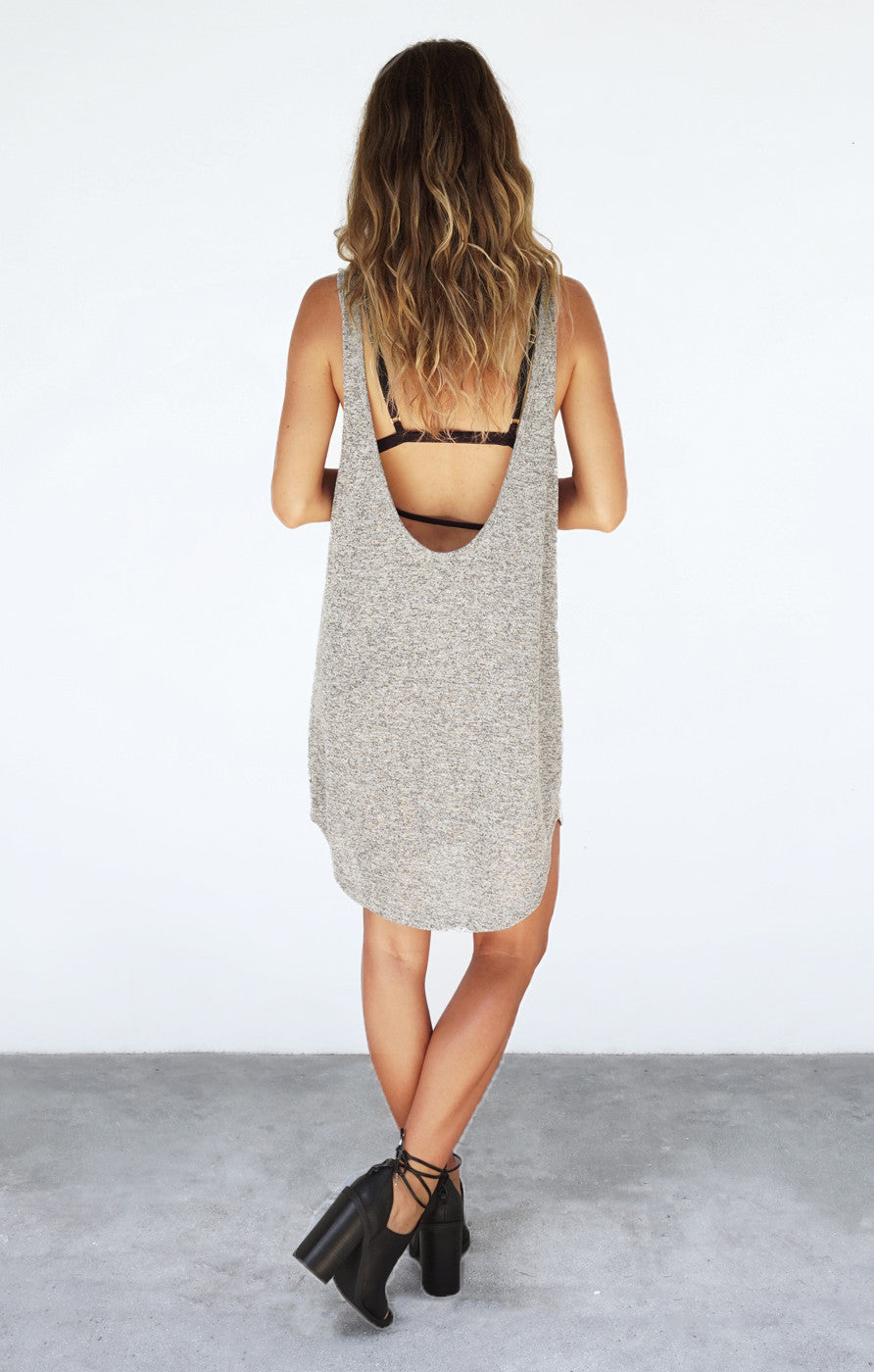 THE LOW BACK DRESS - GREY