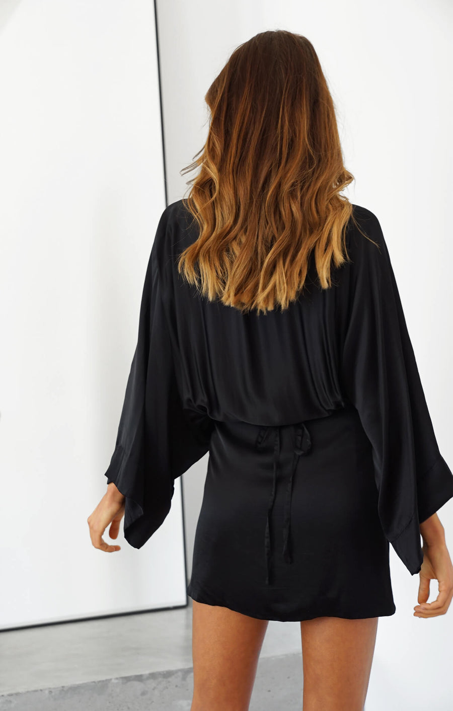 THE LUSH KIMONO DRESS - BLACK