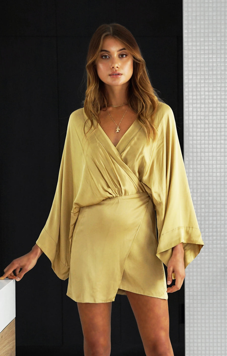THE LUSH KIMONO DRESS - GOLD