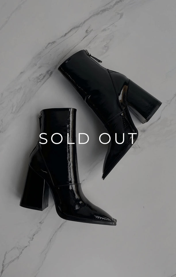 THE EDIE BOOT - BLACK PATENT