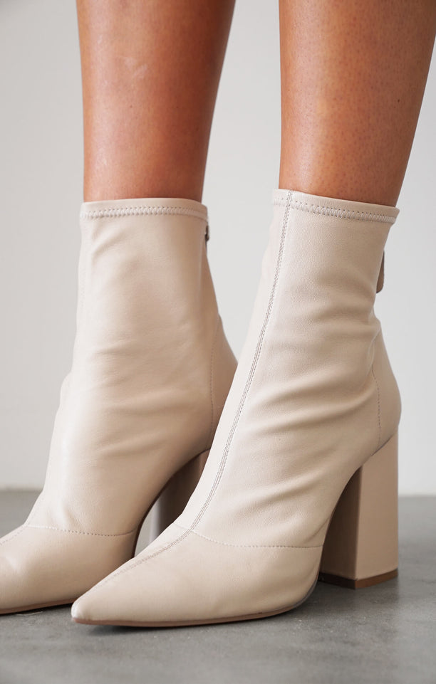 THE AHNIKA BOOT - BEIGE STRETCH LEATHER