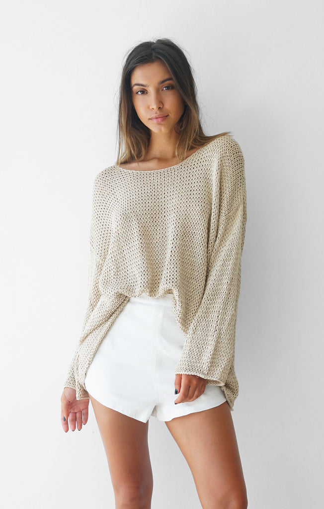 THE EVERYDAY CHUNKY KNIT - BEIGE/GOLD