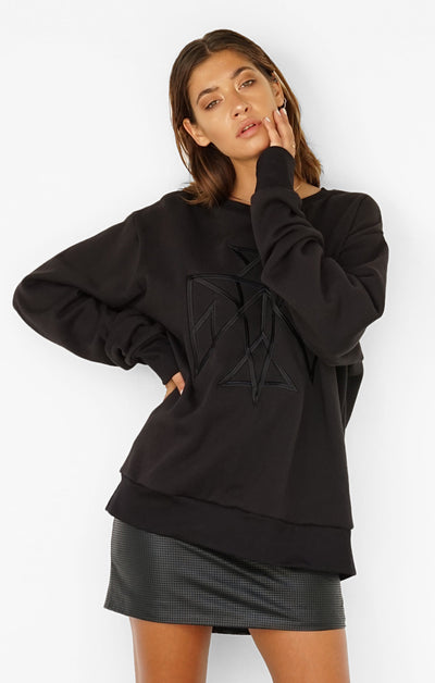 THE SIGNATURE BOYFRIEND JUMPER - BLACK
