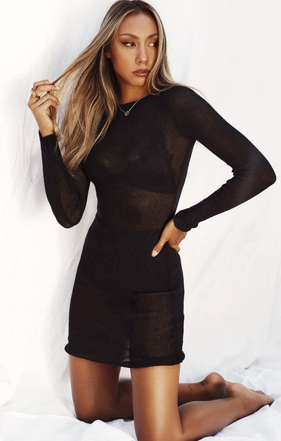 THE KNITTED L/S DRESS - BLACK