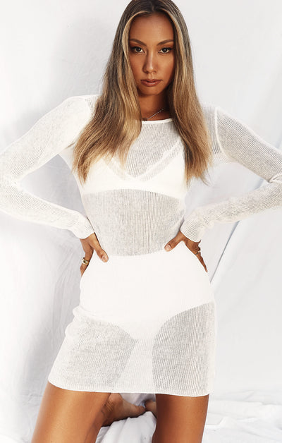 THE KNITTED L/S DRESS - WHITE