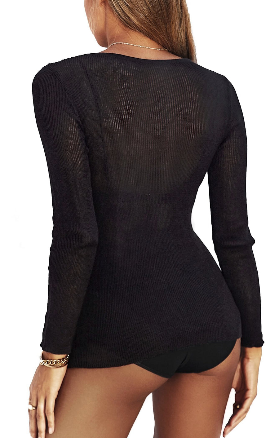 THE KNITTED LONG SLEEVE - BLACK