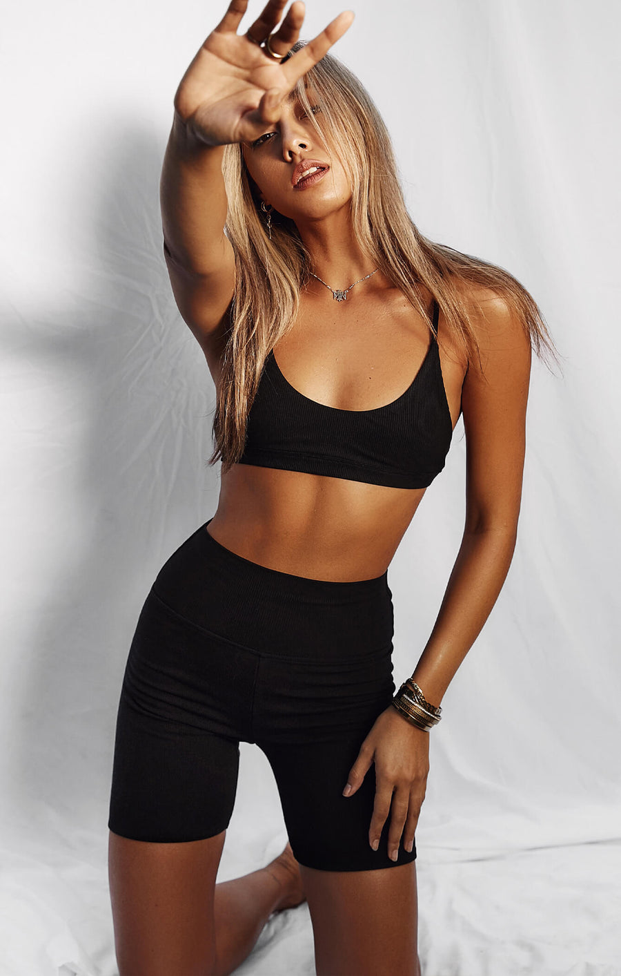 THE LUXE RIB BRALETTE - BLACK